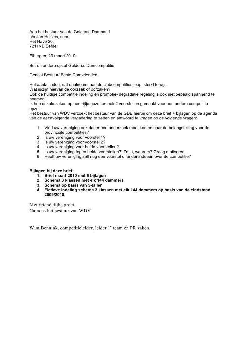 voorbeeldbrief bijlage Gelderse Dambond   Vergaderingen voorbeeldbrief bijlage